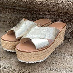 Zara Gold espadrille sandals womens